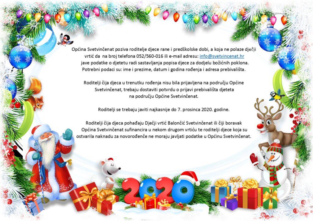 Božićni pokloni - Poziv roditeljima